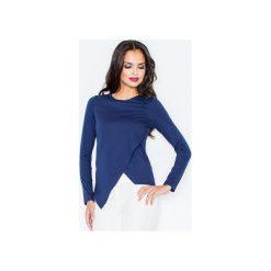 Bluzka M210 Granat. Niebieskie bluzki damskie Figl, z bawełny, eleganckie, z asymetrycznym kołnierzem, z długim rękawem. Za 79.00 zł.