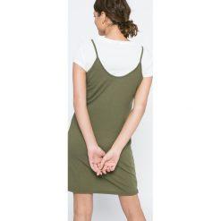 Vero Moda - Sukienka Noor Slip. Sukienki damskie Vero Moda, z bawełny, casualowe, z okrągłym kołnierzem, z krótkim rękawem. W wyprzedaży za 59.90 zł.