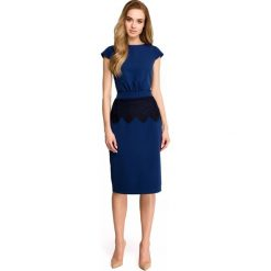 Sukienka ołówkowa z koronką s108. Niebieskie sukienki damskie Style, w koronkowe wzory, z koronki. Za 149.90 zł.