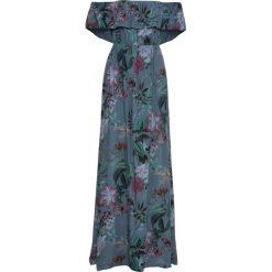 Długa sukienka w kwiaty bonprix niebieski. Niebieskie sukienki damskie bonprix, na lato, w kwiaty, z kołnierzem typu carmen, z długim rękawem. Za 99.99 zł.