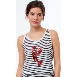 Etam - Top piżamowy Jeanne. Szare piżamy damskie Etam, z bawełny. W wyprzedaży za 39.90 zł.