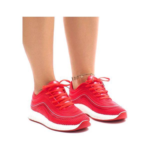 Obuwie Sportowe Damskie Z Paskami Biało Czerwone AceGu