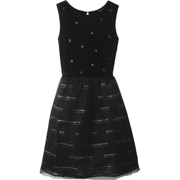 a5f56fcc36 Sukienka dziewczęca aksamitna z tiulową wstawką bonprix czarny ...