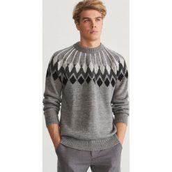 Wzorzysty sweter - Jasny szar. Swetry przez głowę męskie marki Giacomo Conti. W wyprzedaży za 79.99 zł.