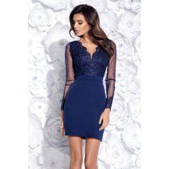 Sukienka dopasowana z koronką 2159. Niebieskie sukienki damskie Bico, w koronkowe wzory, z koronki, eleganckie, z długim rękawem. Za 199.00 zł.