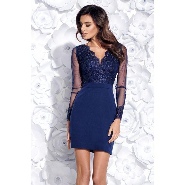 86fc8e07d7b173 Sukienka dopasowana z koronką 2159 - Niebieskie sukienki damskie ...