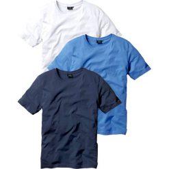 T-shirt (3 szt.) bonprix niebieski + biały + ciemnoniebieski. Niebieskie t-shirty męskie bonprix, z okrągłym kołnierzem. Za 68.97 zł.
