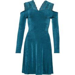 Sukienka z dżerseju, z koronką bonprix niebieskozielony. Niebieskie sukienki damskie bonprix, w koronkowe wzory, z dżerseju, eleganckie, na ramiączkach. Za 119.99 zł.