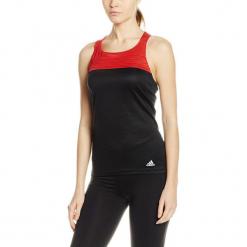 Top w kolorze czerwono-czarnym. Czarne topy damskie Adidas, Reebok, z nadrukiem, z materiału, z okrągłym kołnierzem. W wyprzedaży za 49.95 zł.