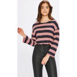 Pepe Jeans - Bluzka. Szare bluzki damskie Pepe Jeans, z bawełny, z okrągłym kołnierzem. W wyprzedaży za 129.90 zł.