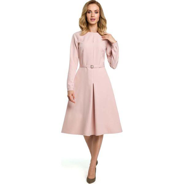 ce8190d78a Pudrowa Elegancka Sukienka do Pracy za Kolano z Paskiem - Sukienki ...