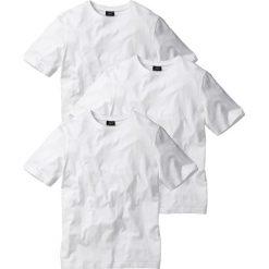 T-shirt (3 szt.) bonprix biały + biały + biały. Białe t-shirty męskie bonprix, z okrągłym kołnierzem. Za 68.97 zł.