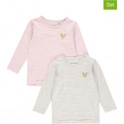 """Koszulki (2 szt.) """"Vio"""" w kolorze biało-szaro-jasnoróżowym. Białe bluzki dla dziewczynek Name it Kids, w paski, z okrągłym kołnierzem, z długim rękawem. W wyprzedaży za 49.95 zł."""