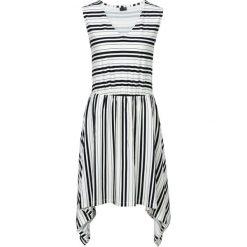 Sukienka shirtowa z symetrycznym dołem bonprix biało-czarny w paski. Białe sukienki damskie bonprix, w paski, z asymetrycznym kołnierzem, bez rękawów. Za 49.99 zł.
