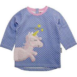 Koszulka w kolorze niebieskim. Niebieskie bluzki dla dziewczynek Gelati, z aplikacjami, z dekoltem na plecach, z długim rękawem. W wyprzedaży za 49.95 zł.