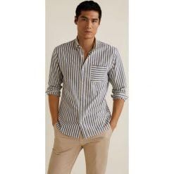 Mango Man - Koszula Kodak. Szare koszule męskie Mango Man, w paski, z bawełny, button down, z długim rękawem. Za 139.90 zł.