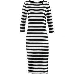 Sukienka z rękawami 3/4 bonprix czarno-biały w paski. Białe sukienki damskie bonprix, w paski. Za 74.99 zł.