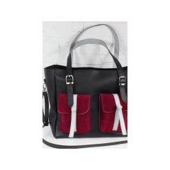 Skórzana Shopper II Pockets black Saffiano. Czarne torebki shopper damskie Fabiola, w paski, ze skóry. Za 288.00 zł.