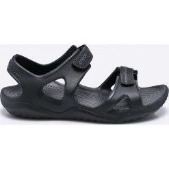 Crocs - Sandały. Czarne sandały męskie Crocs, z materiału. Za 179.90 zł.
