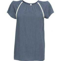 Tunika kreszowana z wycięciami bonprix dymny niebieski wzorzysty. Bluzki damskie marki bonprix. Za 79.99 zł.
