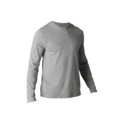 Koszulka Gym 100. Niebieskie bluzki z długim rękawem męskie DOMYOS, z bawełny. Za 29.99 zł.