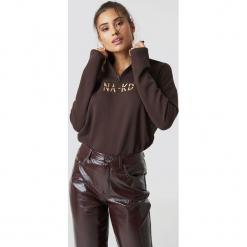 NA-KD Bluza z suwakiem - Brown. Brązowe bluzy damskie NA-KD, z bawełny. Za 161.95 zł.