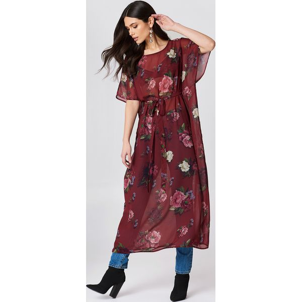 447ca08b NA-KD Boho Szyfonowa sukienka kaftan we wzory - Red,Multicolor