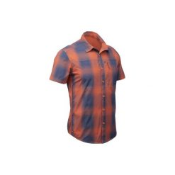 Koszula turystyczna krótki rękaw TRAVEL100 FRESH męska. Brązowe koszule męskie QUECHUA, z krótkim rękawem. W wyprzedaży za 49.99 zł.