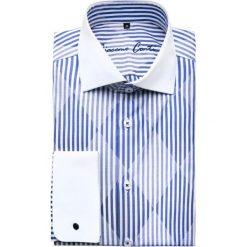 Koszula VITTORE slim 14-09-25. Białe koszule męskie Giacomo Conti, w paski, z bawełny, z włoskim kołnierzykiem. Za 199.00 zł.