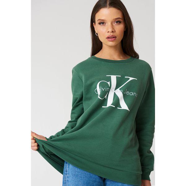 8363e562258cf Calvin Klein Bluza Crew Neck True Icon - Green - Bluzy damskie marki ...
