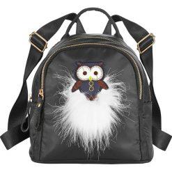 """Mały plecak """"Sowa"""" bonprix czarno-biały. Czarne plecaki damskie bonprix. Za 59.99 zł."""