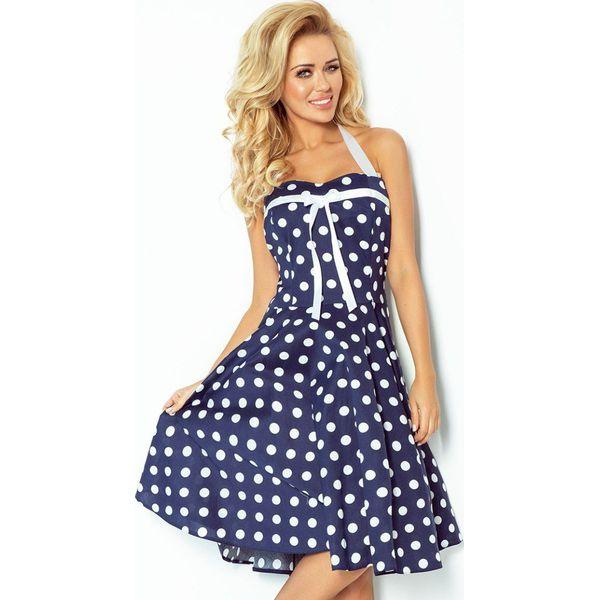 bfa9e8ee13 Rockabilly Pin Up Sukienka Granatowa W Białe Kropki Tasiemka ...