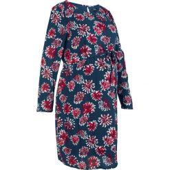 Sukienka ciążowa bonprix ciemnoniebieski z nadrukiem. Niebieskie sukienki damskie bonprix, z nadrukiem, z okrągłym kołnierzem. Za 99.99 zł.