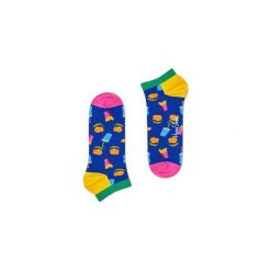 Skarpetki Happy Socks - Hamburger Low (HAM05-6000). Szare skarpety męskie Happy Socks, w kolorowe wzory, z bawełny. Za 27.90 zł.