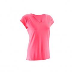 Koszulka fitness krótki rękaw 100 damska. Czerwone koszulki sportowe damskie DOMYOS, z elastanu, z krótkim rękawem. Za 19.99 zł.