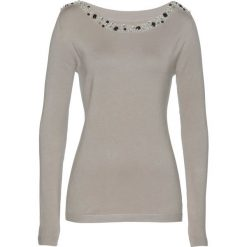 Sweter z aplikacją z perełek bonprix kamienisty. Szare swetry damskie bonprix. Za 119.99 zł.