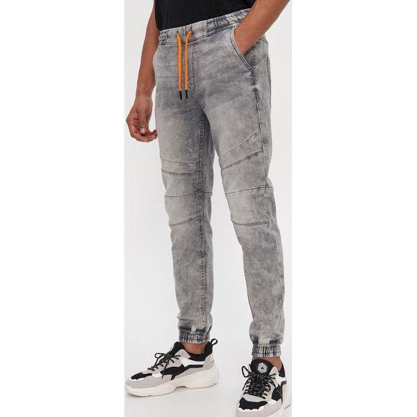 Denimowe spodnie jogger slim Szary