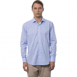 Koszula w kolorze jasnoniebieskim. Niebieskie koszule męskie Roberto Cavalli, Trussardi, z klasycznym kołnierzykiem. W wyprzedaży za 212.95 zł.