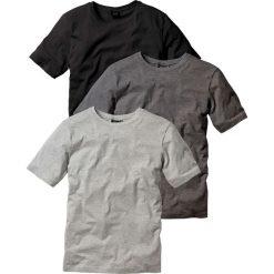 T-shirt (3 szt.) bonprix antracytowy melanż + jasnoszary melanż + czarny. Czarne t-shirty męskie bonprix, melanż, z okrągłym kołnierzem. Za 68.97 zł.