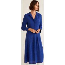 Mango - Sukienka Dundee. Niebieskie sukienki damskie Mango, z materiału, casualowe, z długim rękawem. Za 269.90 zł.