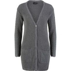 Sweter rozpinany z ażurowymi rękawami bonprix szary melanż. Kardigany damskie marki KALENJI. Za 89.99 zł.