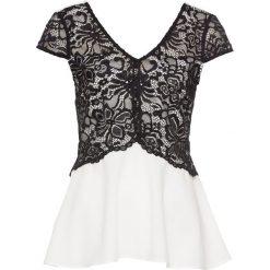 Bluzka bonprix biało-czarny. Białe bluzki damskie bonprix, z koronki, eleganckie, z kontrastowym kołnierzykiem. Za 54.99 zł.