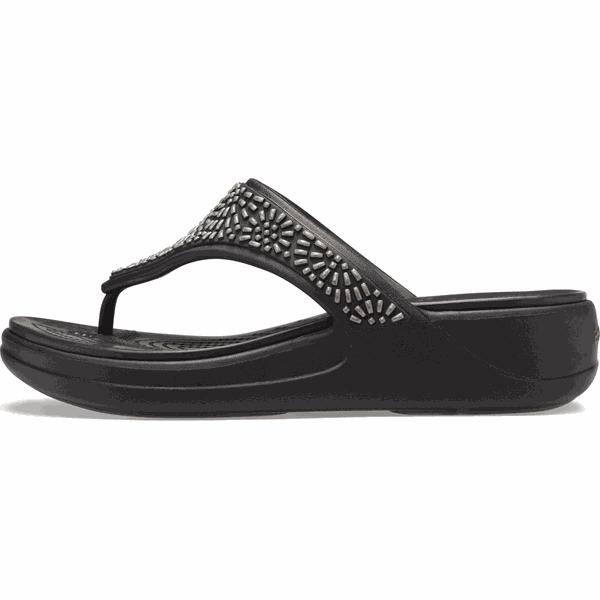 Crocs Damskie japonki Monterey Diamante Wedge Flip W (206343 001) 3940 Czarny