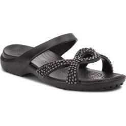 Klapki CROCS - Meleen Twist Diamante Sandal 205101 Black/Black. Czarne klapki damskie Crocs, z materiału. W wyprzedaży za 149.00 zł.