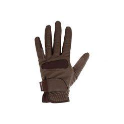 Rękawiczki jeździeckie Grippy. Brązowe rękawiczki męskie FOUGANZA, z elastanu. Za 39.99 zł.