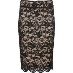 Spódniczka koronkowa bonprix czarno-cielisty. Czarne spódnice damskie bonprix, w koronkowe wzory, z koronki, biznesowe. Za 79.99 zł.