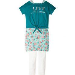 """Shirt """"boxy"""" + sukienka + legginsy (3 części) bonprix turkusowo-biel wełny. Legginsy dla dziewczynek bonprix, z wełny, z długim rękawem. Za 37.99 zł."""