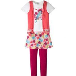 Shirt z doszytą kamizelką + legginsy z doszytą spódniczką (2 części) bonprix jasnoróżowo-kolorowy. Legginsy dla dziewczynek marki OROKS. Za 37.99 zł.