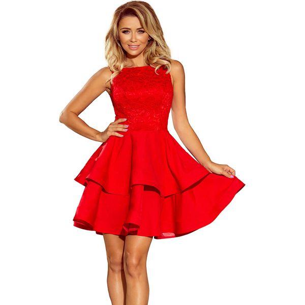 32e6c01ed3 Czerwona Wyjściowa Podwójnie Rozkloszowana Sukienka z Koronką ...