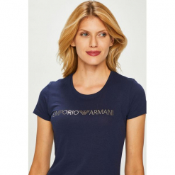 Emporio Armani - Top. Czarne topy damskie Emporio Armani, z aplikacjami, z bawełny, z okrągłym kołnierzem, z krótkim rękawem. W wyprzedaży za 179.90 zł.